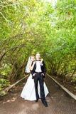 Jeunes mariés élégants posant ensemble dehors image stock