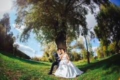Jeunes mariés avec des sucreries dans des mains Photo stock