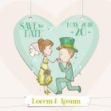 Jeunes mariés - carte de mariage Image stock