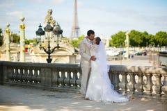Jeunes mariés dans le jardin de Tuileries de Paris Photographie stock libre de droits