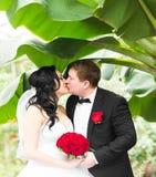 Jeunes mariés embrassant leur jour du mariage dehors photographie stock libre de droits