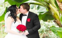 Jeunes mariés embrassant sous les palmiers Concept de vacances d'été image stock