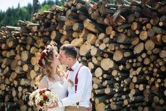 Jeunes mariés embrassant sur le fond du bois de chauffage empilé Image stock