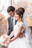 Jeunes mariés en automne images stock
