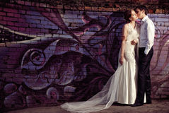 Jeunes mariés heureux à la promenade de mariage Image libre de droits