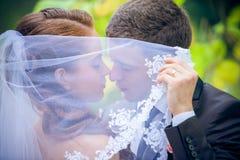 Jeunes mariés heureux photographie stock libre de droits