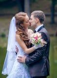 Jeunes mariés heureux images libres de droits