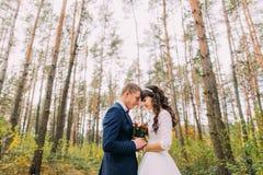 Jeunes mariés heureux de nouveaux mariés tenant des mains dans la forêt de pin d'automne Images stock