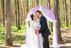 Jeunes mariés heureux riches élégants merveilleux se tenant à une cérémonie de mariage dans le jardin vert près de la voûte pourp image stock
