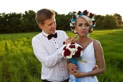 Jeunes mariés heureux sur le champ vert clair Image libre de droits