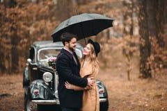 Jeunes mariés magnifiques de nouveaux mariés posant dans la forêt de pin près de la rétro voiture dans leur jour du mariage Photographie stock libre de droits