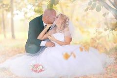 Jeunes mariés marchant en parc d'automne Photographie stock libre de droits