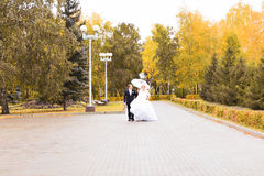 Jeunes mariés marchant en parc d'automne Image stock