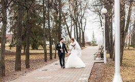 Jeunes mariés marchant en parc d'automne ou d'hiver Photo libre de droits