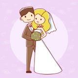 Jeunes mariés mignons sur une offre pourpre de fond Photo libre de droits