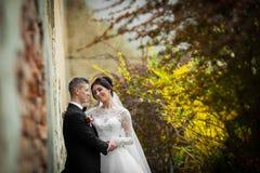 Jeunes mariés posant et étreignant près du vieux closeu de mur de bâtiment Images stock