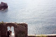 Jeunes mariés près d'océan Photo libre de droits