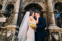 Jeunes mariés romantiques de nouveaux mariés riant devant vieux bulding avec des colonnes Photographie stock