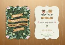 Jeunes mariés rustiques de bande dessinée de carte d'invitation de mariage illustration stock