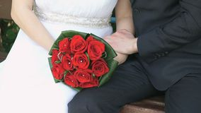Jeunes mariés s'étreignant au parc banque de vidéos