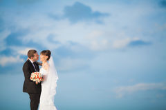 Jeunes mariés sensuels sur le fond de nuages Image libre de droits