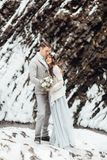 Jeunes mariés sur la cascade de montagne Photographie stock libre de droits