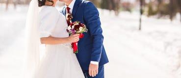 Jeunes mariés sur leur mariage d'hiver photographie stock