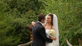 Jeunes mariés sur une passerelle banque de vidéos