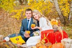 Jeunes mariés tenant des verres, tasses images stock