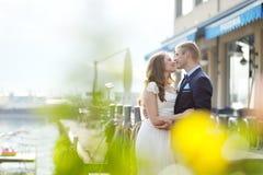 Jeunes mariés tendres dans le jour du mariage Images stock