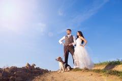 Jeunes mariés avec le chien Image libre de droits