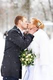 Jeunes mariés heureux de baiser romantique l'hiver Images stock