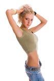 jeunes minces blonds de femme image stock