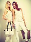 Jeunes modèles avec des sacs à main Images stock