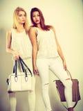 Jeunes modèles avec des sacs à main Photos stock