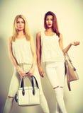 Jeunes modèles avec des sacs à main Photographie stock libre de droits