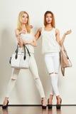 Jeunes modèles avec des sacs à main Photos libres de droits