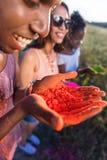 Jeunes multi-ethniques gais tenant la poudre colorée dans des mains au festival de holi Images stock