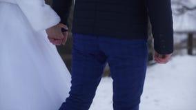 Jeunes nouveaux mariés marchant dehors La promenade de jeunes mariés ensemble en parc dans l'hiver ou l'été et des mains de se te image libre de droits
