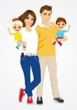 Jeunes père et mère avec les bébés mignons illustration de vecteur
