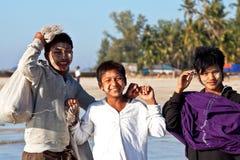 Jeunes pêcheurs, Myanmar Photographie stock libre de droits