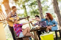 Jeunes pains grillés d'amis avec le type avec la guitare Images stock