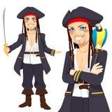 Jeunes pirate et perroquet Image stock