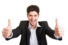 Jeunes pouces de fixation d'homme d'affaires Photos stock