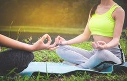 Jeunes praticiens de yoga dans le groupe faisant le yoga sur la nature, saine photos stock