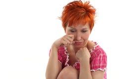 jeunes rouges d'une chevelure pleurants de femme Photos libres de droits