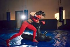 Jeunes trains sportifs de combattant de fille dans le gymnase images stock