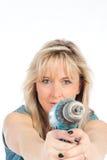 Jeunes travaux blonds de femme Photographie stock libre de droits