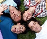 Jeunes types et filles se trouvant sur l'herbe Images stock