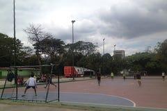 Jeunes types jouant le football micro en parc Images libres de droits